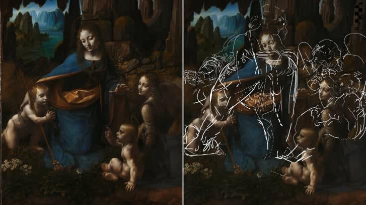 """بعد مرور 500 عام.. اكتشاف رسم تخطيطي مخبأ داخل لوحة دا فينشي """"عذراء الصخور"""""""