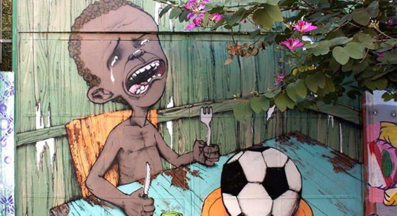 غرافيتي حول مونديال البرازيل تنتشر بسرعة على الانترنت