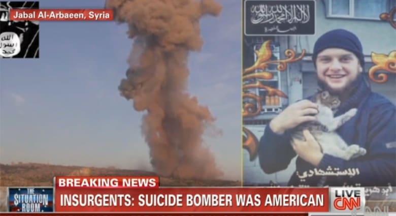 """بالفيديو.. سوريا: جبهة النصرة تعلن مقتل """"أبوهريرة الأمريكي"""" بتفجير انتحاري بجبل الأربعين"""