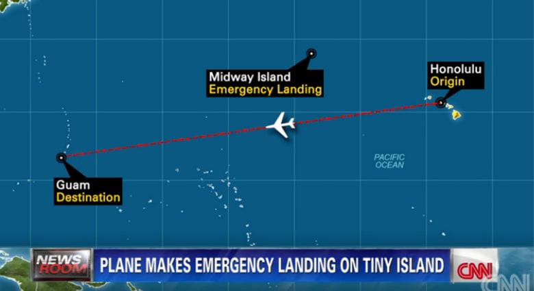 رائحة تجبر طائرة ركاب أمريكية للهبوط اضطراريا بجزيرة نائية