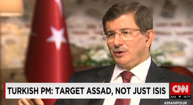 داود أوغلو لـCNN: حذرنا العالم من عاصفة داعش دون جدوى.. ومستعدون للتدخل بريا ضده إذا عمل العالم لإزاحة الأسد
