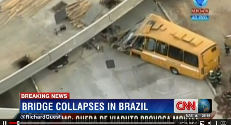 مقتل شخص بانهيار جسر قيد الإنشاء في البرازيل