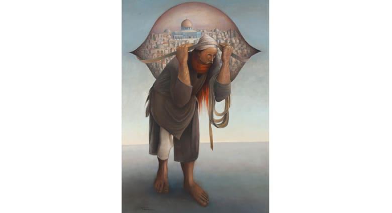 """لوحة """"جمل المحامل 2"""" للفنان الفلسطيني سليمان منصور بمزاد علني في دبي قريباً"""