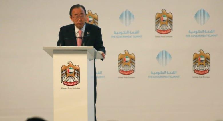 """القمة الحكومية في دبي.. كي مون يأمل بـ""""حل"""" للقضية الفلسطينية ومحمد بن زايد يحذر من تحديات نضوب النفط"""