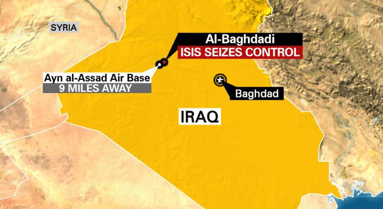 """زعيم قبلي لـCNN: هجوم داعش قتل 25 فردا بالشرطة في """"البغدادي"""" و13 جنديا بـ""""الأسد"""" ونتوقع انهيار مدن الأنبار اذا انسحب الجيش"""
