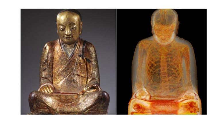 صورة أشعة لتمثال بوذا تكشف عن مومياء محنطة داخله