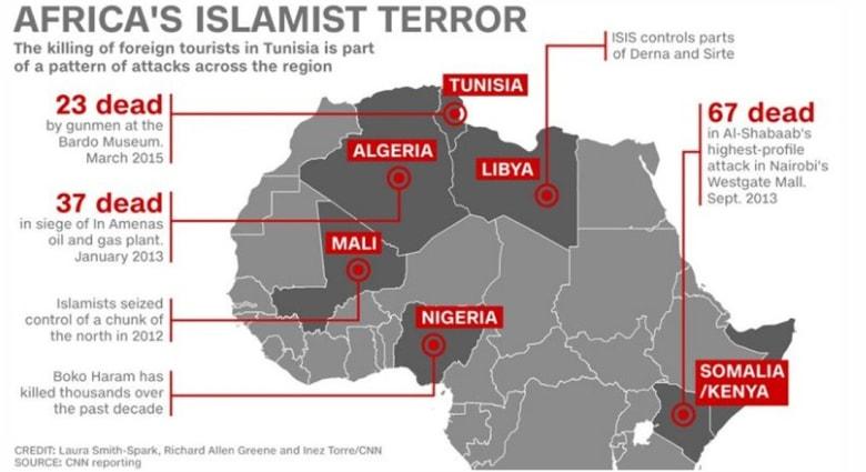 على الخارطة.. الإسلاميون المتشددون في أفريقيا