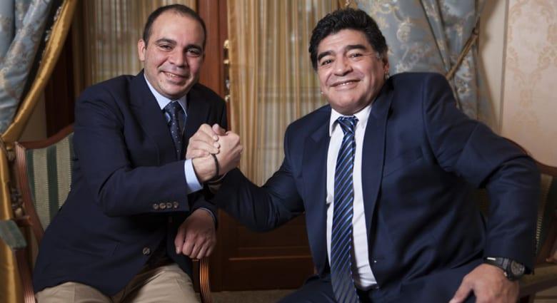 مارادونا يعلن دعم الأمير علي بن الحسين في انتخابات الفيفا المقبلة