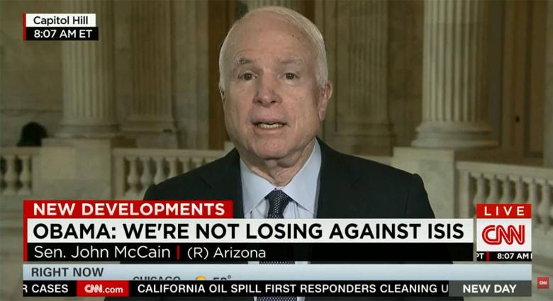 ماكين: حملتنا الجوية بالعراق غير مجدية.. 75% من الطائرات تعود لقواعدها دون ضرب الأهداف.. إذا لم نتدخل بريا فستتحلل القوات العراقية