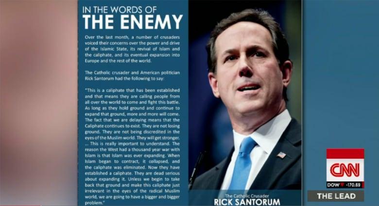"""بعد ظهوره بمجلة دابق ووصف داعش له بـ""""الكاثوليكي الصليبي"""".. مرشح رئاسي أمريكي لـCNN: هؤلاء يعنون ما يقولون ويريدون تدمير أمريكا"""
