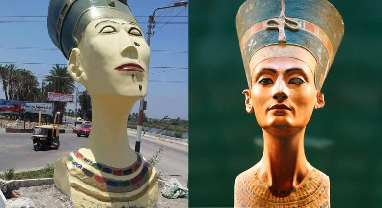 """""""#نفرتيتي"""" في برلين الألمانية تتحول إلى """"فرج تيتي"""" في المنيا المصرية.. """"الجميلة وصلت"""""""
