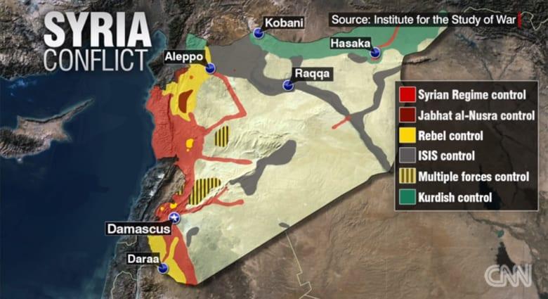على الخريطة.. توزيع المناطق في سوريا بحسب الجهة التي تسيطر عليها