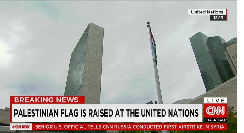 رفع العلم الفلسطيني في مقر الأمم المتحدة.. وأبومازن: لا يمكن استمرار التزامنا بالاتفاقيات مع إسرائيل