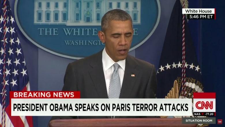 أوباما: هجمات باريس هجوم على الإنسانية بأكملها