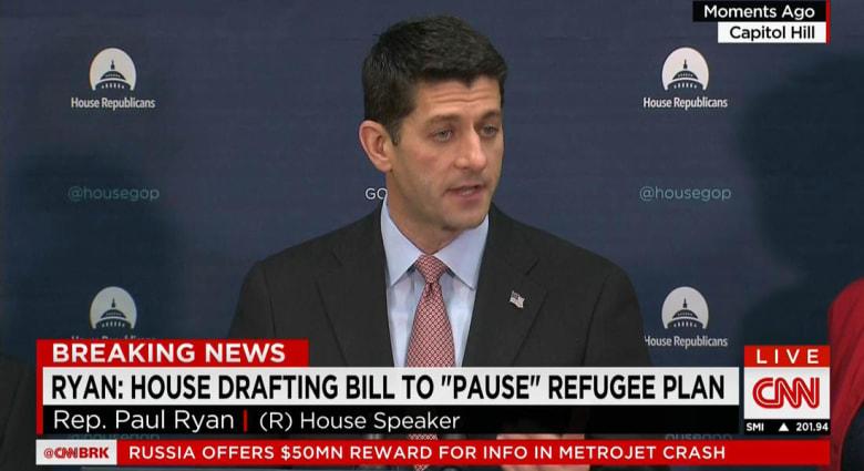 بعد هجمات باريس.. رئيس مجلس النواب الأمريكي يدعو لوقف برنامج اللاجئين السوريين