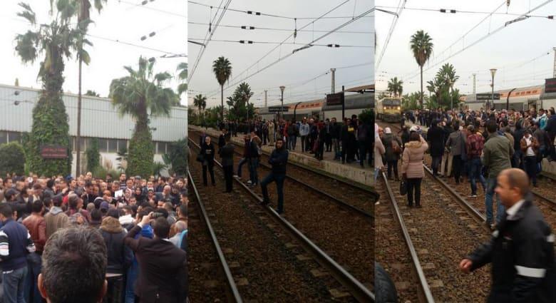 مغاربة يحتجون على استمرار تأخر القطارات باحتلال سكك الحديد.. وقوات الأمن تتدخل