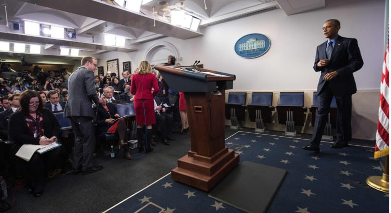 أوباما في آخر مؤتمر صحفي لـ2015: سوف ندمر داعش في سوريا والعراق ونمنعه من نشر الإرهاب في العالم.. ويجب على الأسد أن يرحل