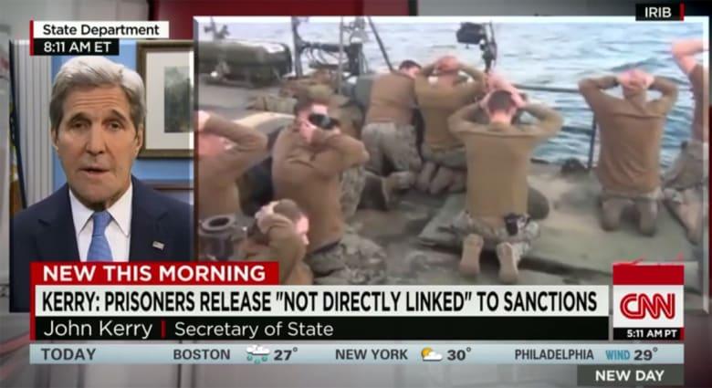 كيري يبين لـCNN ردة فعله عند رؤية البحارة الأمريكيين وأيديهم فوق رؤوسهم بعد احتجازهم من قبل إيران