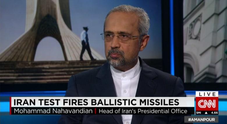 مدير مكتب رئيس إيران يعلق لـCNN عن تجربة صاروخ كتب عليه عبارات معادية لإسرائيل ومدى تأثير ذلك على الاتفاق النووي
