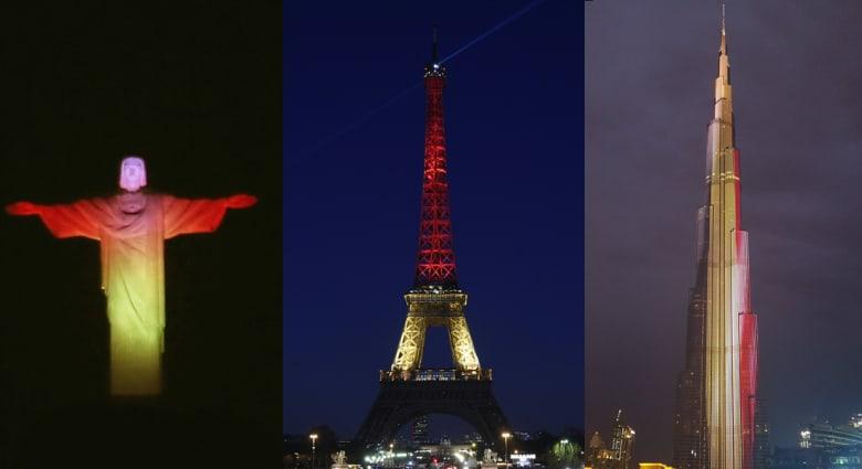 بالصور: العالم يعرب عن تضامنه مع بلجيكا بألوانها بعد تفجيرات بروكسل