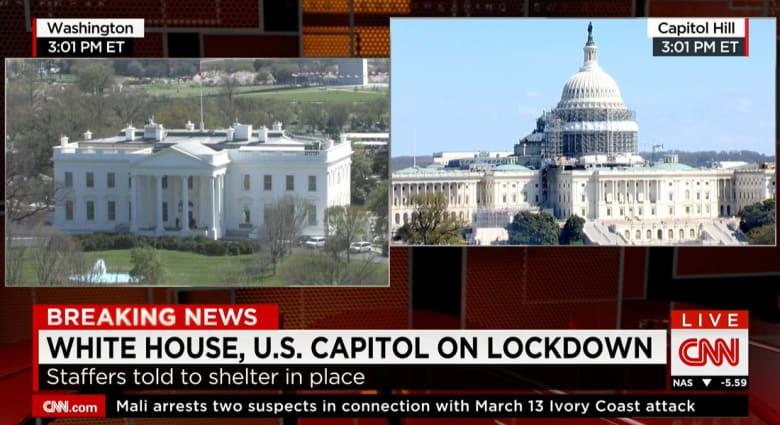 إغلاق البيت الأبيض والكونغرس بحادثتين منفصلتين أحدها بعد تقارير عن إطلاق نار بمبنى الزوار بالكونغرس