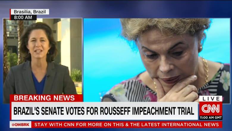 البرازيل: الرئيسة روسيف تتنحى مؤقتا بعدما صوت غالبية أعضاء مجلس الشيوخ لصالح السير بإجراءات إقالتها
