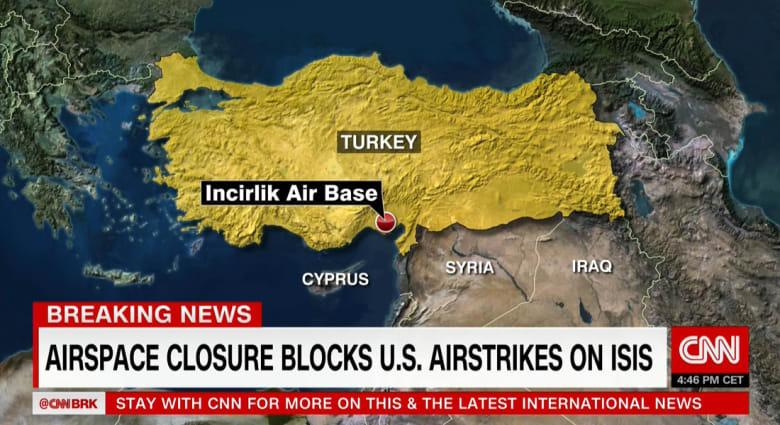 القنصلية الأمريكية بتركيا: قطع الكهرباء عن قاعدة انجرليك.. ومسؤول أمريكي لـCNN: المجال الجوي للقاعدة مغلق