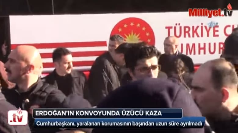 شاهد.. حافلة أردوغان تدهس أحد حراسه الشخصيين
