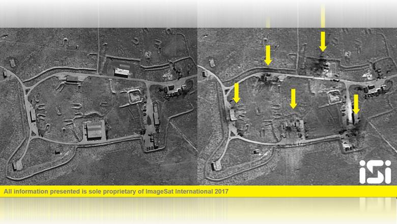 الأقمار الصناعية ترصد قاعدة الشعيرات السورية قبل وبعد الضربة الأمريكية