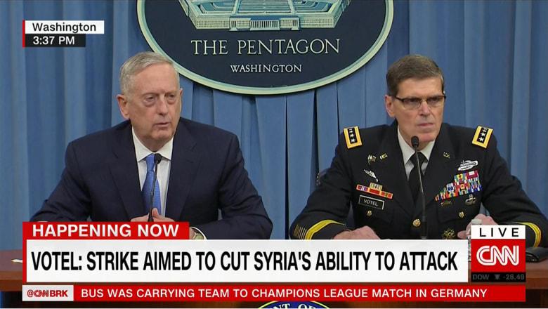 ماتيس وفوتيل عن ضربة سوريا: إذا استخدم الأسد الكيماوي سيدفع ثمنا باهظا