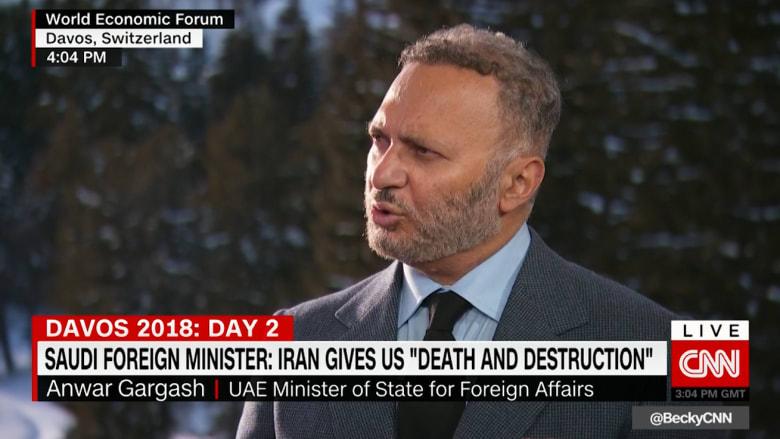 قرقاش لـCNN: احتجاجات إيران مشكلة داخلية.. ولا نأمل بالتصعيد