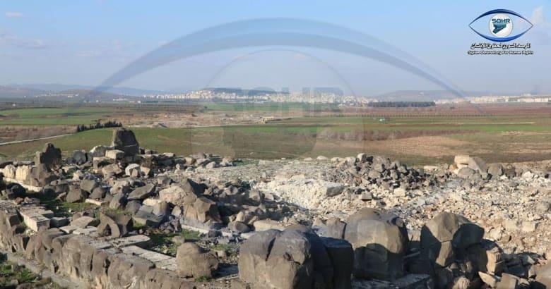 شاهد.. سوريا تتهم تركيا بتدمير موقع أثري يشبه هيكل سليمان