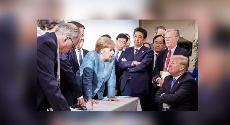 هذا ما حدث بالفعل في صورة ترامب أثناء قمة مجموعة السبع