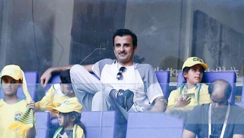 أمير قطر يتابع مباراة البرازيل والمكسيك بروسيا 2018