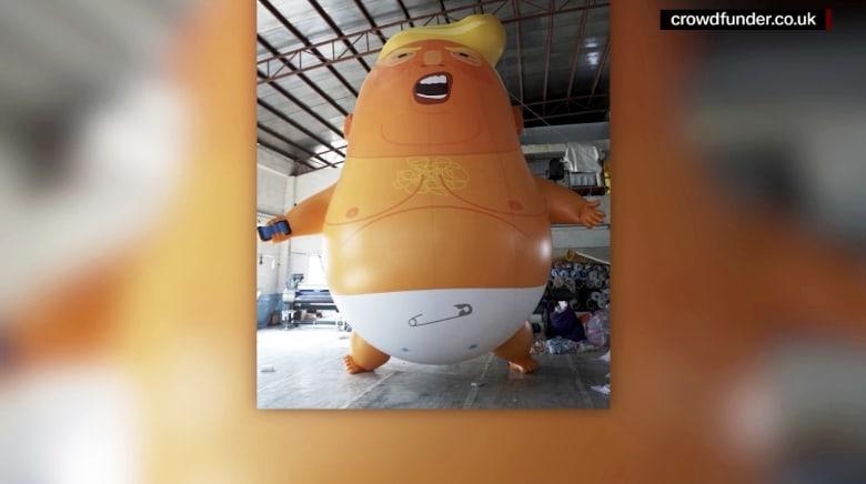 """""""بيبي ترامب"""".. بالون ضخم يستقبل الرئيس الأمريكي في لندن"""