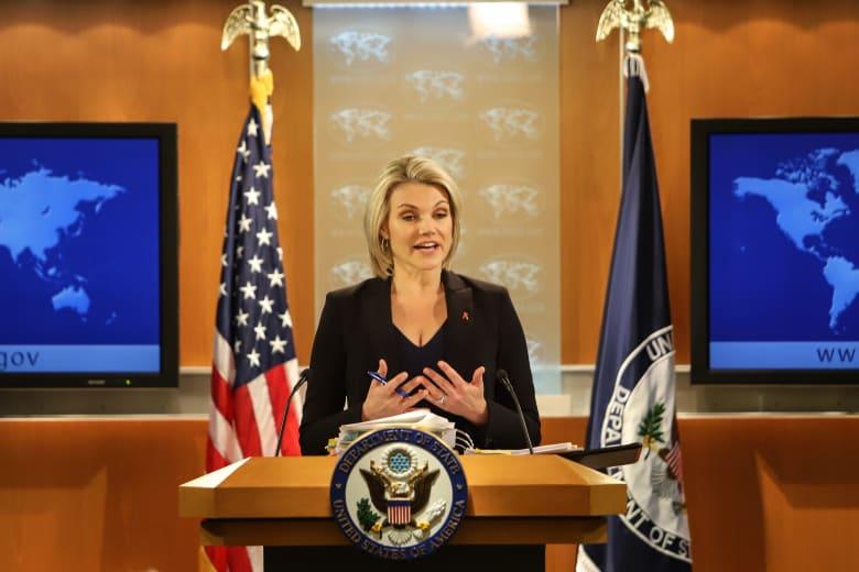 """أعربت المتحدثة باسم وزارة الخارجية الأمريكية، هيذر نويرت، عن تعاطفها مع """"الشعب الإيراني"""" وليس حكومته، للهجوم الذي وقع خلال عرض عسكري للقوات المسلحة الإيرانية، في منطقة الأهواز، السبت."""