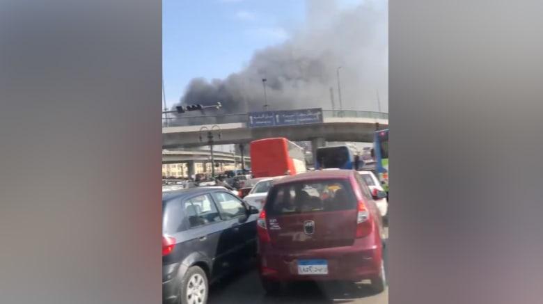 """ضحايا بحريق """"هائل"""" شب بعد انفجار """"تنك بنزين"""" بمحطة قطارات مصر"""