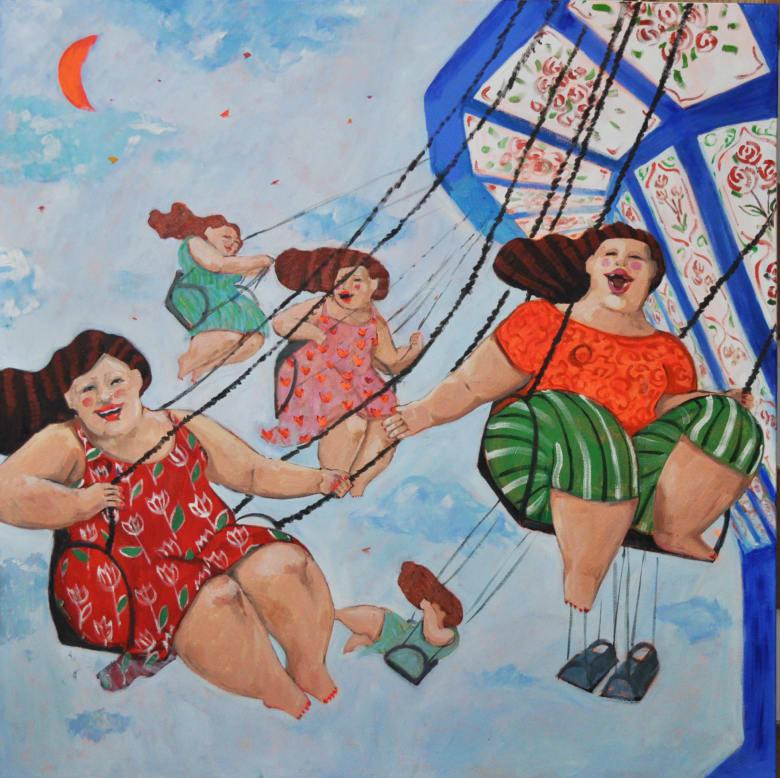 """""""جارات قوس القزح"""".. لوحات تدعو النساء إلى التصالح مع أجسادهن"""