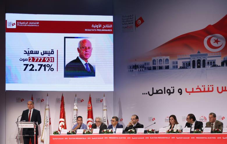 """""""هيئة الانتخابات"""" في تونس تعلن فوز قيس سعيد بالرئاسة رسميًا"""