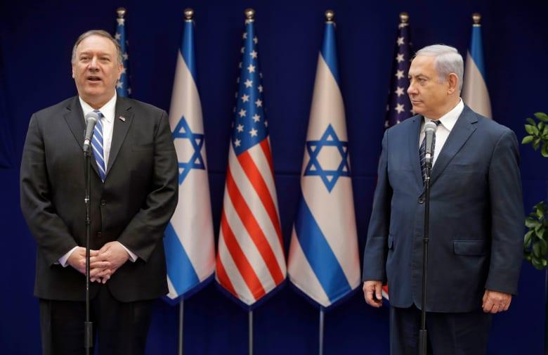 رئيس الوزراء الإسرائيلي بنيامين نتنياهو ووزير خارجية الولايات المتحدة مايك بومبيو