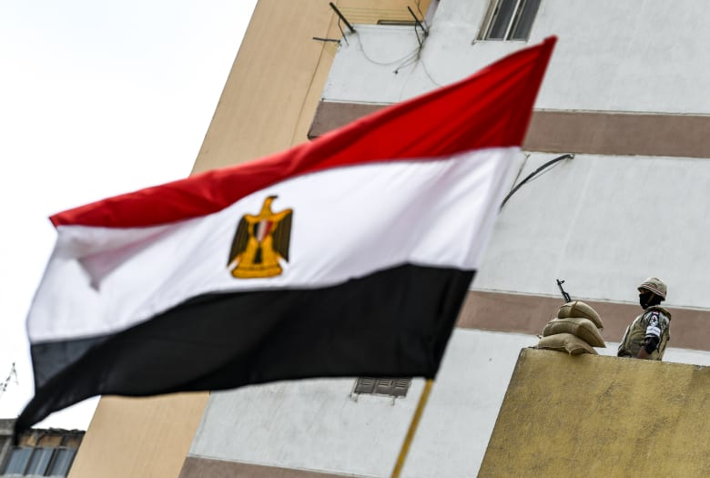 صورة لأحد الجنود المصريين وأمامه علم بلاده