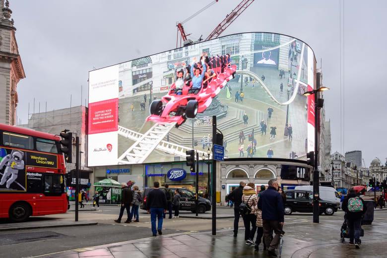 معالم أبوظبي تبرز من قلب لندن على أكبر شاشة عرض بتقنية الواقع المدمج على الإطلاق