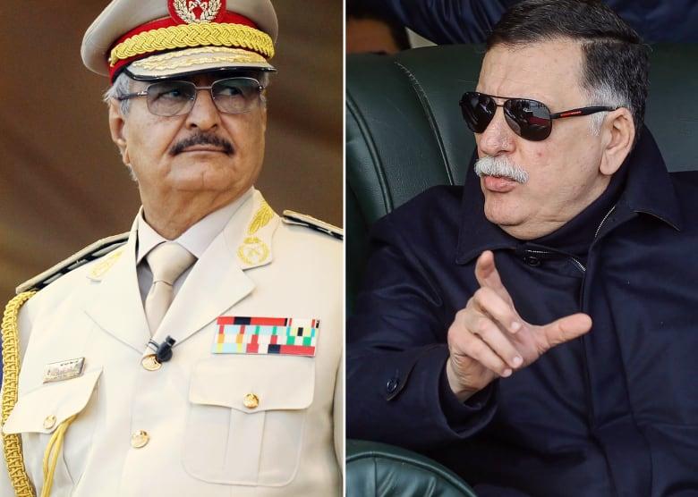 فائز السراج رئيس حكومة الوفاق (يمين) وخليفة حفتر قائد الجيش الوطني الليبي (يسار)