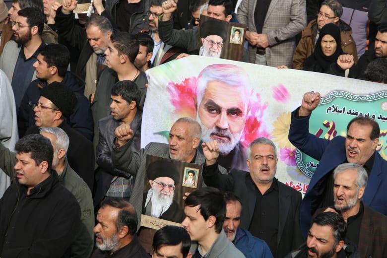 مظاهرات في طهران للنديد بمقتل قاسم سليماني قائد فيلق القدس