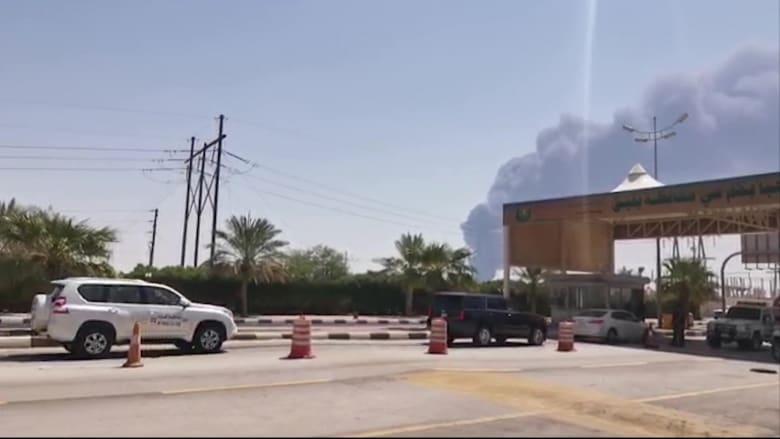 صورة لدخان يتصاعد من منشأة لأرامكو السعودية في بقيق بعد قصف في 14 سبتمبر 2019