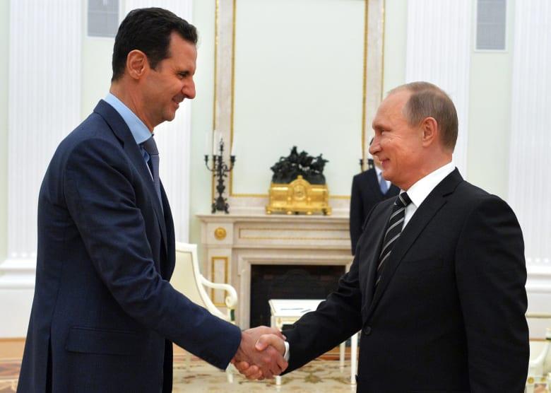 صورة للرئيس السوري بشار الأسد والرئيس الروسي فلاديمير بوتين