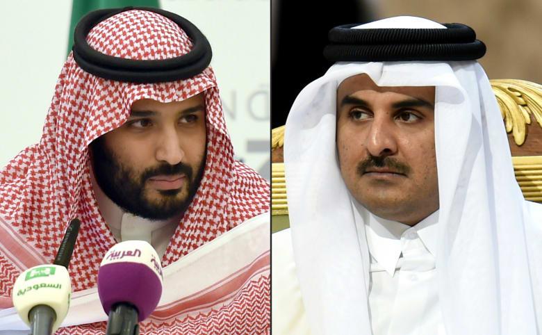 أمير قطر، الشيخ تميم بن حمد (يمين) وولي عهد السعودية، الامير محمد بن سلمان (يسار)