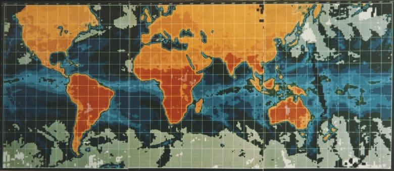 صورة أرشيفية لخاطة العالم تظهر المناطق ذات الحرارة الأعلى على الكوكب