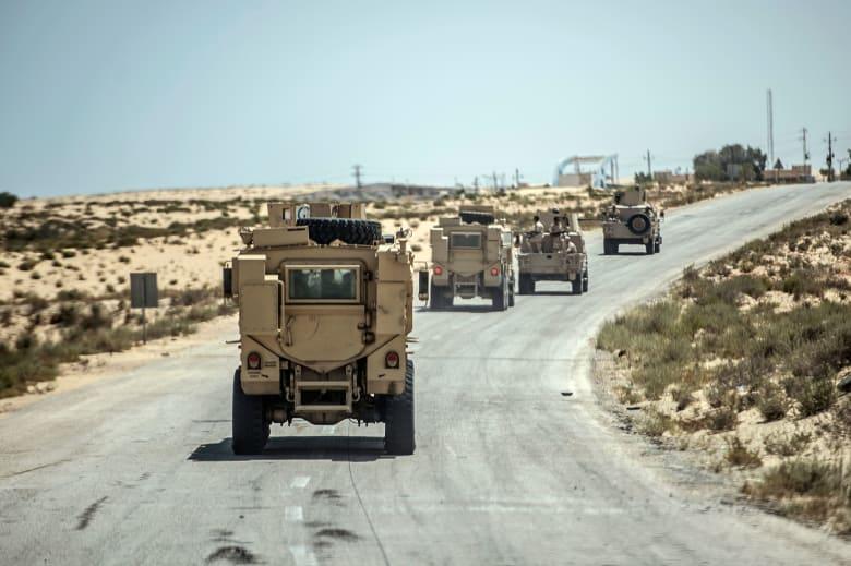 صورة ارشيفية لعربات مدرعة تابعة للقوات المصرية في سيناء