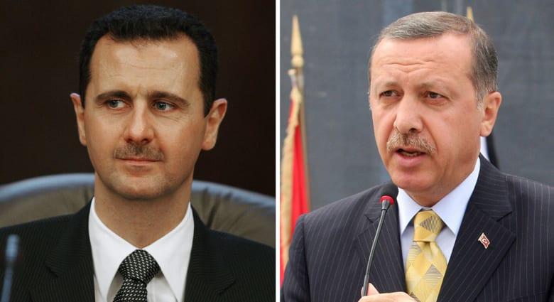 أردوغان (يمين) الأسد (يسار)